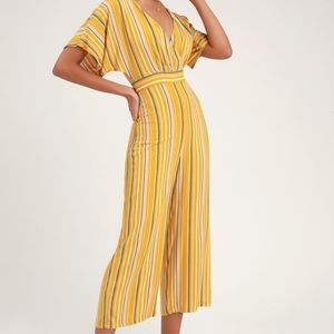 NWT Lulus yellow striped cropped jumpsuit.